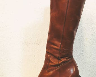 1970s Brown Leather boots plateaus western gogo hippie tanned knee boot boho