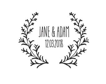 Custom Wedding Stamp/ Initials Stamp / Monogram stamp / Save the Date Stamp / Wedding Invitations / Wedding Favour Tags / Woodland