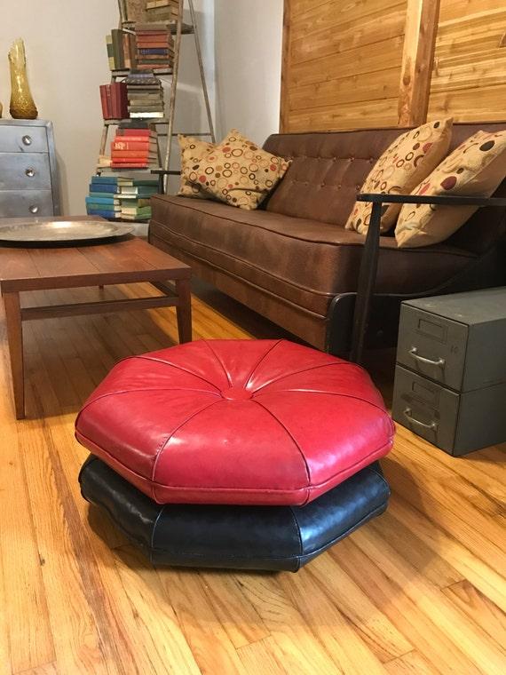 Vintage Vinyl Floor Cushions Tufted Black Red Mid Century