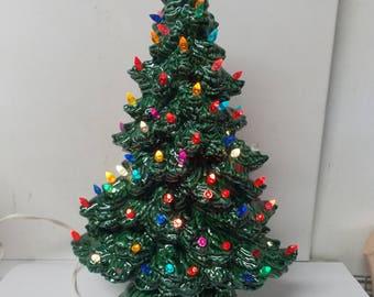Vintage Ceramic Table Top Christmas Tree Lights Up 2 pc Base & Tree