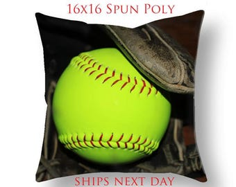 SALE! Softball Pillow Cover-Slightly Distressed 16x16 Pillow Cover-Sports Toss Pillow-Sports Decor-Florescent Yellow-green/Black Pillow