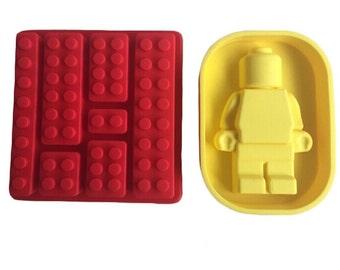 1 Set (2 Pcs.) Lego And Legoman Silicone Mold - Sugarcraft Chocolate Cake Decoration - Lego Blocks and Lego Man Flexible Resin Mould - m006