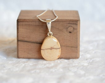 Natural wooden necklace, white wood reclaimed pendant, sterling silver chain with woodland charm necklace, recycled jewelry made from tree