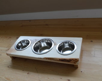 "NEW!! Cat bowl or puppy dish stand, ""Mini Pals"" crafted from live edge fir/cedar wood decor with three stainless pet dishes, hard to tip"