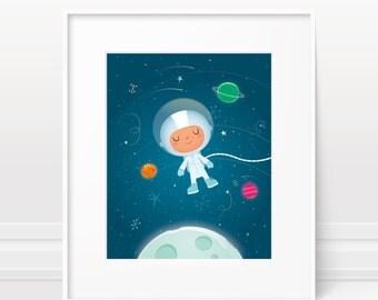 Nursery art boy - Childrens art, Space nursery print, nursery decor