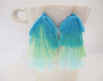 Light Blue and Green Ombre Tassel Statement Earrings