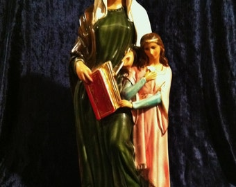 "Saint Anne Statue, 17"" - Antique Italian Chalkware - New Old Stock From The 1960's, Never Sold!"