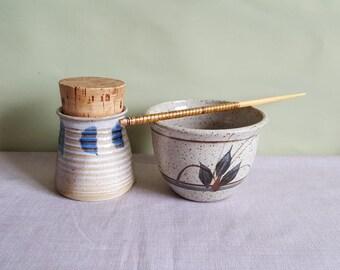 Vintage studio pottery • ceramic pots • kitchen containers • sushi set • condiments jars • spice jars • pottery bowls • rustic pottery
