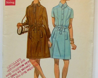 Butterick Dress Pattern 5316, 1970s Vintage, Shirt Dress With Drawstring Waist, Long or Short Sleeves, Size 12 Bust 34