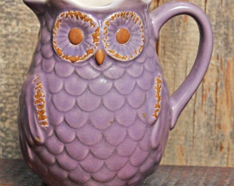Owl Pottery Pitcher, Succulent Planter, Owl Planter, Plant Waterer Ceramic Owl