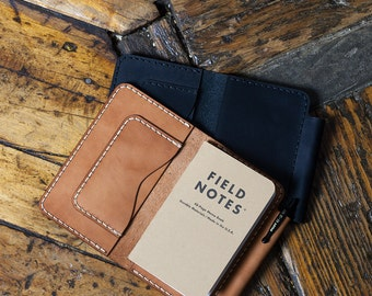 Leather Pocket 3x5 Memo Book cover note pad holder, Duty Memo, Duty Notes
