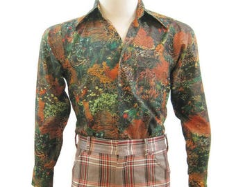 Vintage 70s Shirt Mens Polyester Photo print Forest Foliage Long Sleeve Disco Utex S