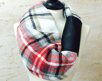 Infinity scarf - Circle scarf, Cowl Scarf, Chunky Infinity scarf, Tube scarf, Loop scarf, Blanket Scarf, Plaid Infinity Scarf