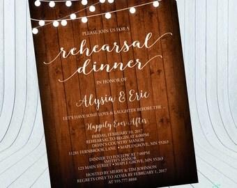 Rehearsal Dinner Invitation | Rehearsal Invitation | Wood Invitation {Digital File}