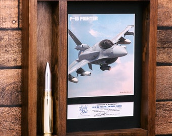 Air Force Retirement Gift - 20MM Vulcan Cannon Round Collector Shadow Box. Military Retirement Gift. Military Dad.