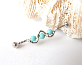 Wire Wrapped Turquoise Industrial Barbell You Choose Length, Scaffold Piercing, Industrial Barbells, Turquoise Blue Magnesite. 1585