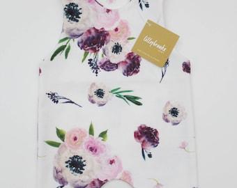 Purple Floral Baby Romper/ Floral Romper / Baby Romper / Floral Bodysuit / Baby Gift / Bodysuit / Floral Baby Gift / Modern Baby Romper