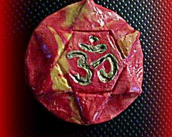 Shiva Shakti Pendant, Om Pendant, Red and Yellow Hexagram Om Pendant, Red and Yellow Star