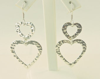 Sterling Silver Long Hammered Hearts Dangle Earrings