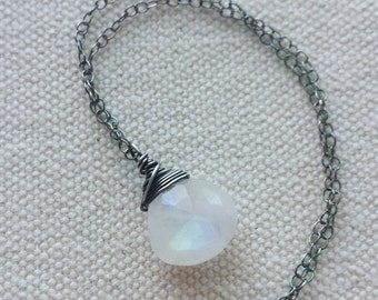 Rainbow Moonstone Necklace, Oxidized Moonstone Necklace, Oxidized Pendant, Oxidized Sterling Silver, Silver Moonstone Necklace