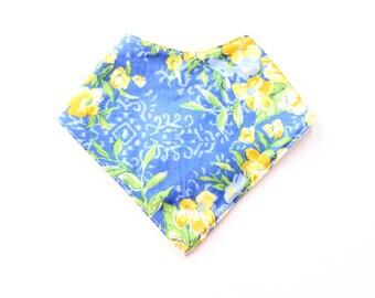 Baby Bandana Bib -  girls blue and yellow garden, drool bib, teething bib