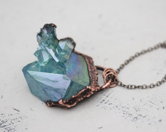 Large Electroformed Blue Aqua Aura Quartz Crystal Cluster Point Druzy Rainbow Pendant/Necklace In Copper