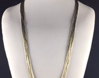 "Shining Liquid Silver Native American Necklace with 20 Strands of Flowing Liquid Silver  30"" Long"