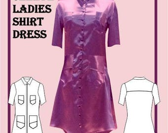 Ladies Short Sleeve Shirt Dress Sewing Pattern