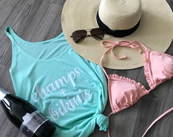 Champs and Bikinis Tank Top // swimsuit cover up // beach tank // summer // pool cover up// champagne tank // gifts for her // bachelorette