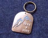 Take A Hike Keychain in Bronze Metal Clay