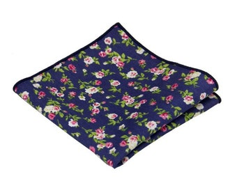 "Navy Floral Pocket Square.Navy Handkerchief.Wedding Handkerchief.10""x10"""