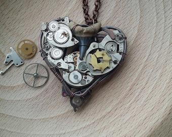 Shark tooth necklace Mechanical heart Steampunk necklace Industrial heart Clock work
