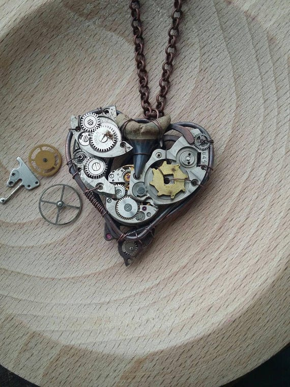 2e45507905 Shark tooth necklace Mechanical heart Steampunk necklace Industrial heart  Clock work by AlmostRealFlowersArt