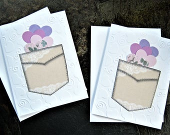 Pocket full of hearts note card set, Thinking of you, Thank you notes, embossed stationery, blank card set, gift ideas, teachers, Set of 6