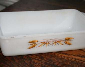 Anchor Hocking Fire King Wheat Pattern Casserole Dish ,  One Quart Baking Dish