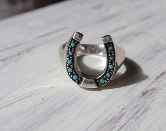 Sterling Silver Horse Shoe Ring Turquoise blue stones good luck equestrian horseshoe ladies mans
