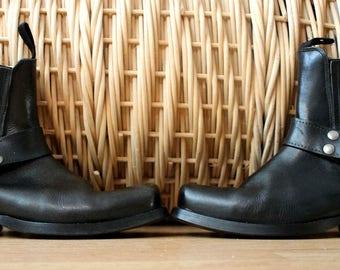 DOCKERS handmade  Studded black leather vintage western rocker boots motor bike motorbike 7 boho bohemian rocker booties free people