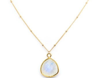 Selene trillion cut triangle necklace - moonstone pendant & 14k gold satellite chain
