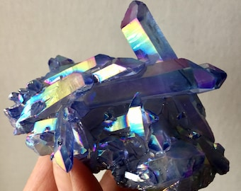 Aura Quartz Crystal Cluster Beautiful Dreamy Blue Flame