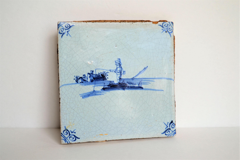 Vintage Ceramic Tile Cobalt Blue Man Fishing In Boat