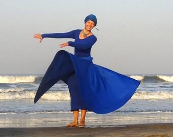 Whirling Skirt, Blue Sufi Skirt, Blue Skirt for Whirling