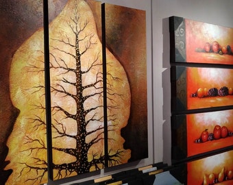 Beige Brown Gold Golden Tree Palette Knife Triptych Canvas Art Metallic Gold Tree Painting Golden Tree Triptych Wall Panel Wall Art Deco