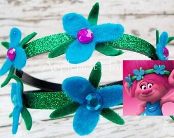 Poppy Princess, Poppy Headband,Troll headband,Poppy Troll, Pprincess Poppy troll headband,Poppy flower headband,Poppy Birthday Headband
