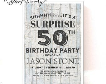 ANY AGE // Surprise Adult Birthday Invitation for Men Surprise Birthday Party Invitation Rustic Wood Birch // Printable No.69BIRTHDAY