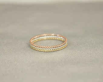 Set of Silver and Yellow and Rose Gold Filled Thin Stacking Ring Set, Spiral Rings, Silver Ring, Stacking Rings, Yellow Gold Rings, Ring Set