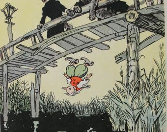 "Illustrator A. Kanevsky ""The Golden Key"" Tolstoy Fairy tale. Vintage Soviet Postcard - 1956. Sovetskiy hudozhnik. Pinocchio, Dog, Frog"