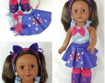 "Twilight Sparkle Costume for an 18"" Doll plus Girls Hair Clip"