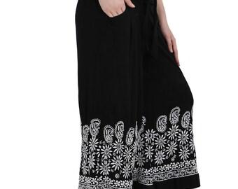 MYSTERY BLACK  and white India  chikankari embroidery Rayon  pants trouser  Salwar Boho hippie retro for women / ladies / girl