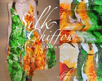Orange Green Chiffon. Abstract Fabric by the yard