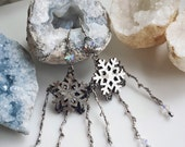 Starry Woods Snowflake earrings, Snowflake and Branch earrings, Snowflake and Twigs woodland earrings